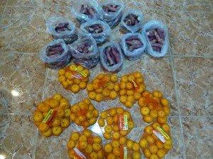 des patates douces sucrées et des clémentines
