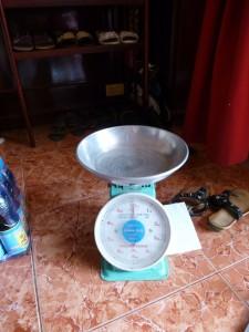 La balance pour peser le riz