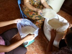 La pesée du riz